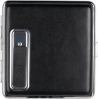 SKY ZigarettenEtui Chromrahmen schwarz mit USB-Anzünder
