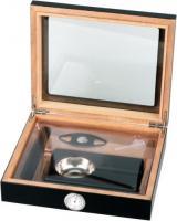 Humidor-Set schwarz Glasdeckel