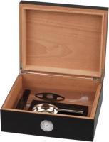 Humidor-Set Walnuss Dekor schwarz für ca. 25 Cigarren