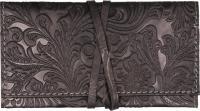 Drehertasche Leder schwarz/graue Steppung Flowerprint