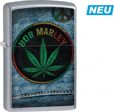 "Original ZIPPO streetchrom color ""Bob Marley Jeans Sticker"""