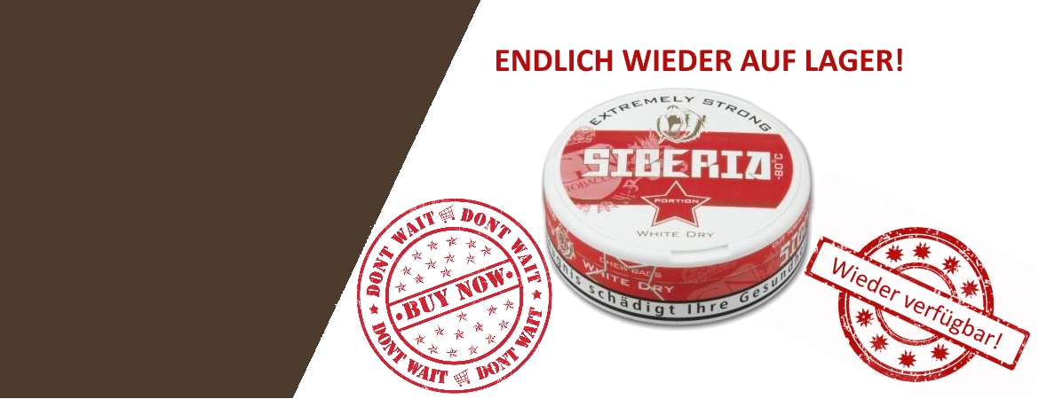 Siberia 80° Extremely Strong White Dry Chewing Bags endlich wieder lieferbar günstig
